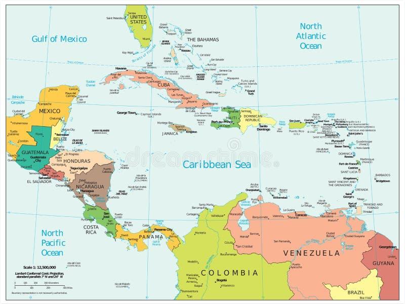 Carte politique de divisions de région des Caraïbes de l'Amérique Centrale illustration de vecteur