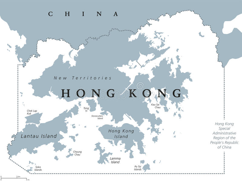 Carte politique de Hong Kong illustration de vecteur