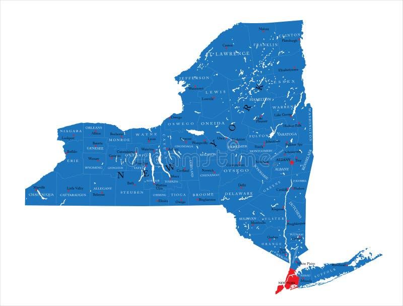 Carte politique de l'état de New-York illustration de vecteur