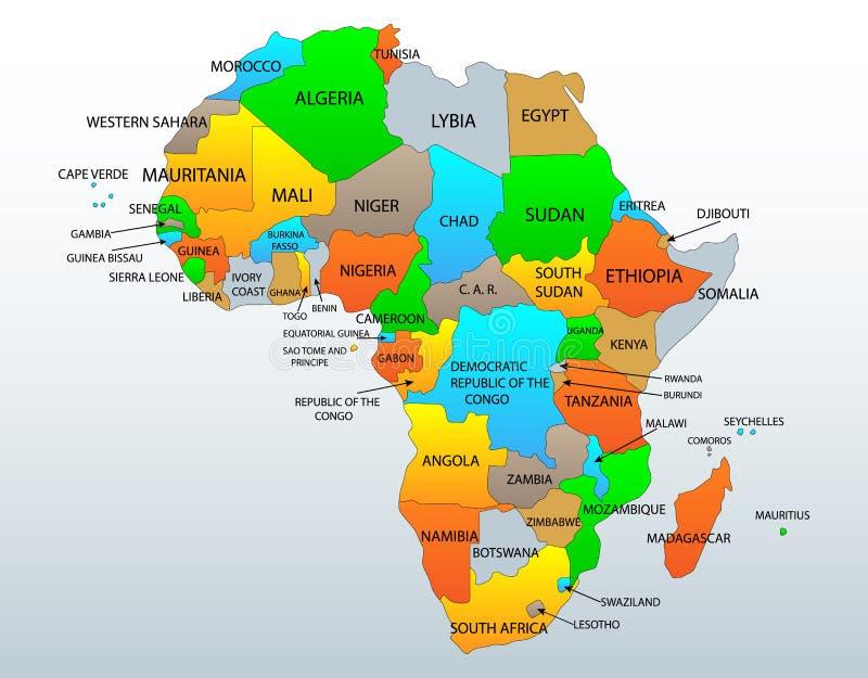Carte politique de l'Afrique illustration de vecteur