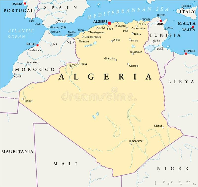 Carte politique de l'Algérie illustration de vecteur