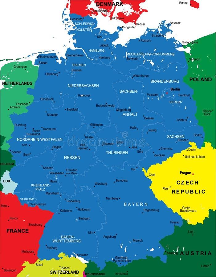 Carte politique de l'Allemagne illustration libre de droits