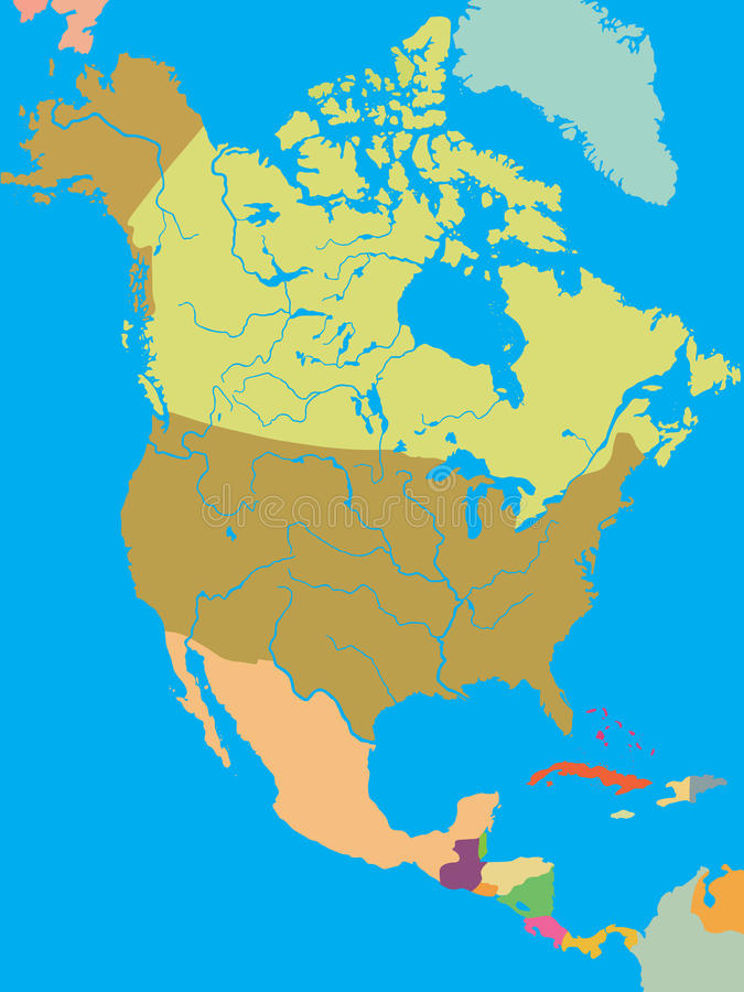 Carte politique de l'Amérique du Nord illustration libre de droits