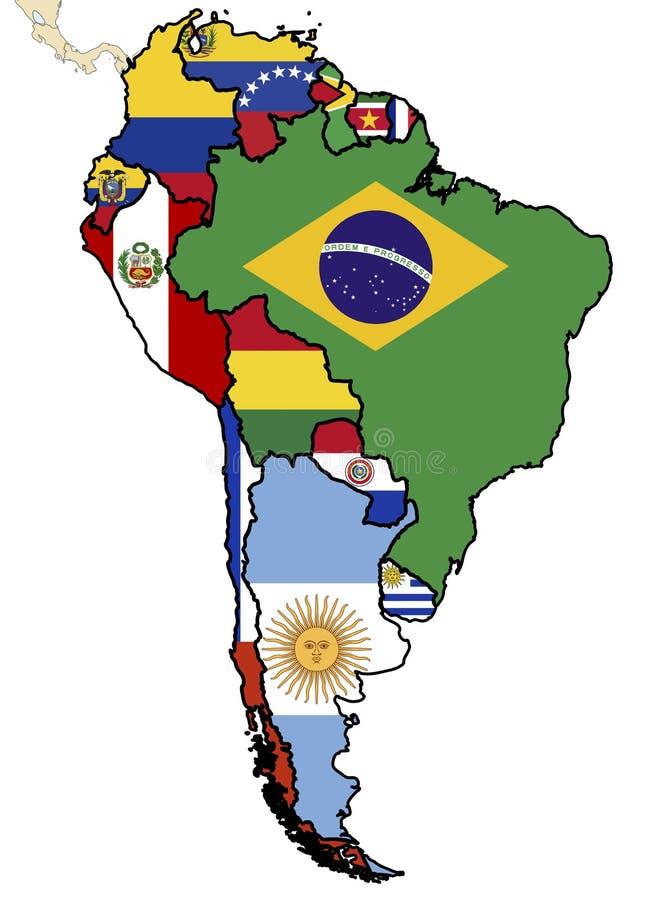 Carte politique de l'Amérique du Sud illustration de vecteur