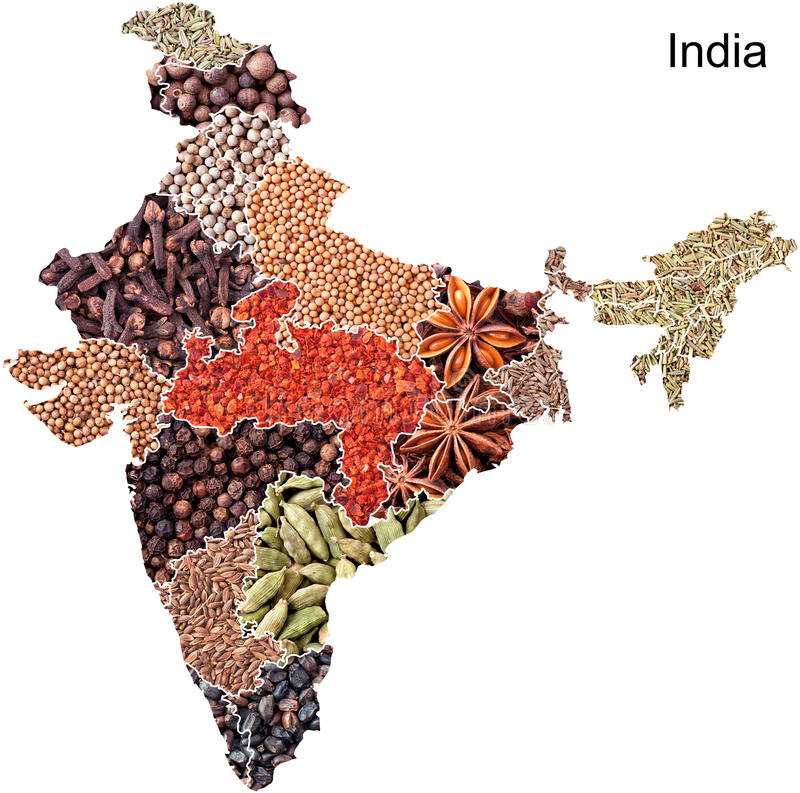 Carte politique de l'Inde avec des épices image stock