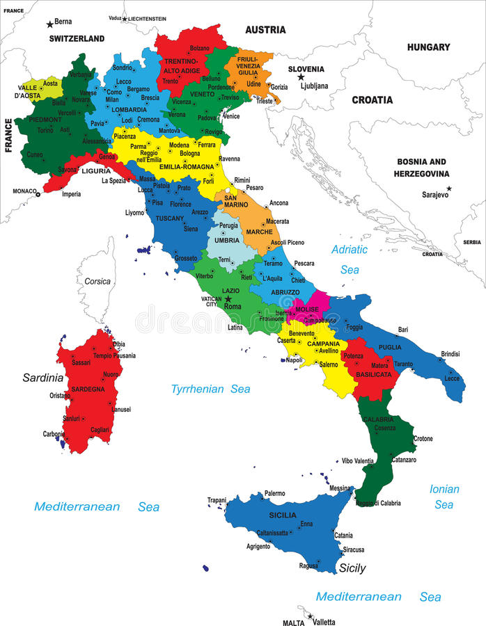Carte politique de l'Italie