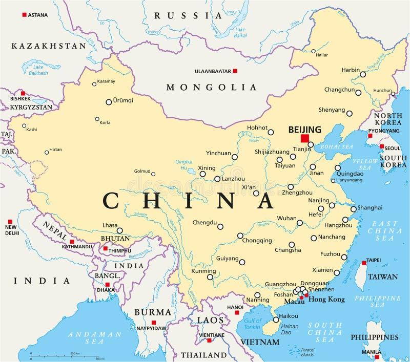 Carte politique de la Chine illustration de vecteur