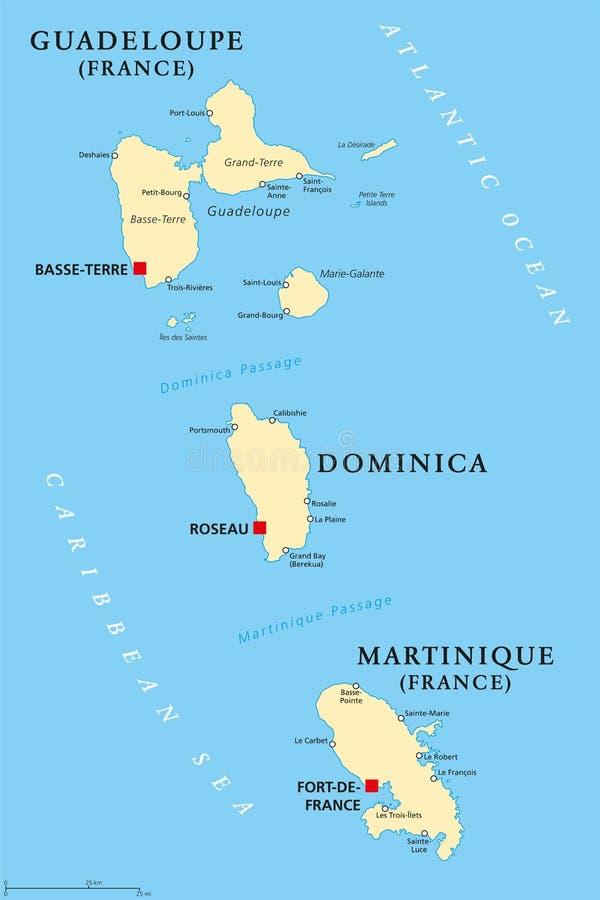 Carte politique de la Guadeloupe, de la Dominique et de la Martinique illustration de vecteur