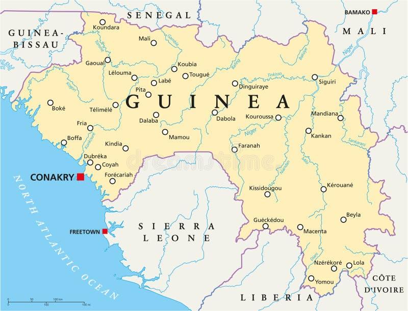 Carte politique de la Guinée illustration de vecteur