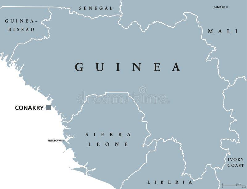 Carte politique de la Guinée illustration libre de droits
