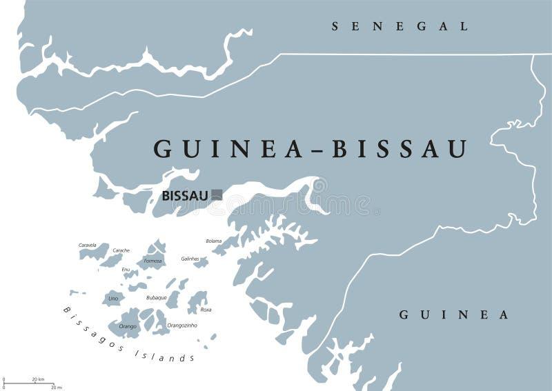 Carte politique de la Guinée-Bissau illustration stock