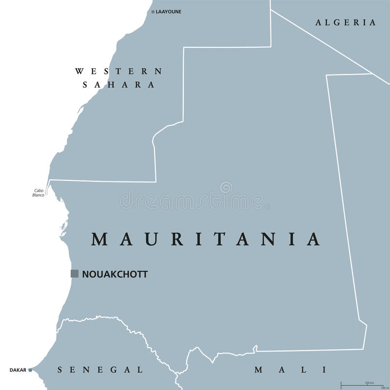 Carte politique de la Mauritanie illustration libre de droits