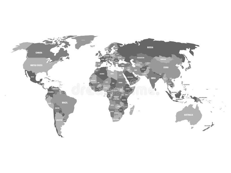 Carte politique de monde aux nuances du bleu de turquoise avec les labels blancs de nom du pays D'isolement sur le fond blanc Vec illustration libre de droits