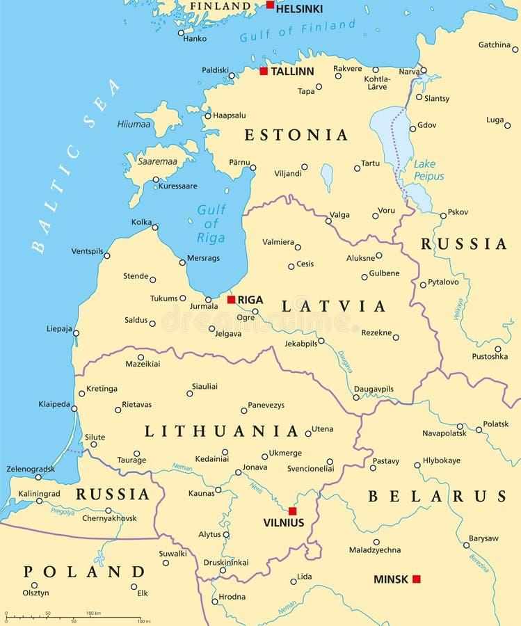 Carte politique de pays baltiques illustration de vecteur