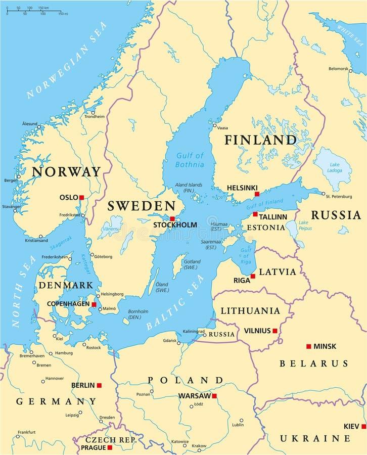 Carte politique de région de mer baltique illustration stock