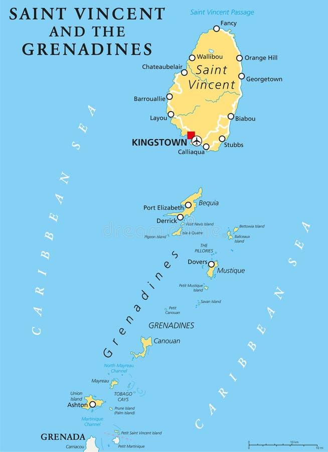 Carte politique de Saint-Vincent-et-les-Grenadines illustration stock