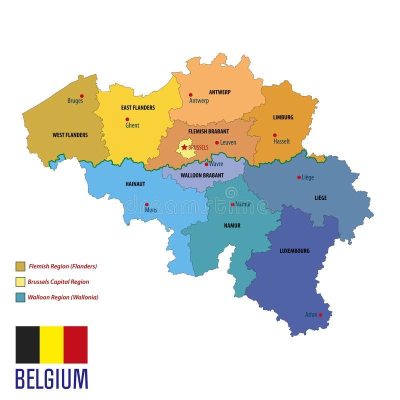 Carte politique de vecteur de la Belgique avec les régions et le drapeau illustration libre de droits