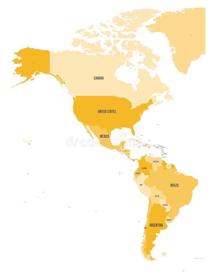 Carte politique des Amériques à quatre nuances d'orange sur le fond blanc Nord et l'Amérique du Sud avec des labels de pays illustration stock
