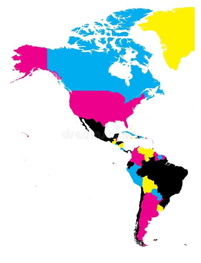 Carte politique des Amériques dans des couleurs de CMYK sur le fond blanc Nord et l'Amérique du Sud Illustration plate simple de  illustration libre de droits