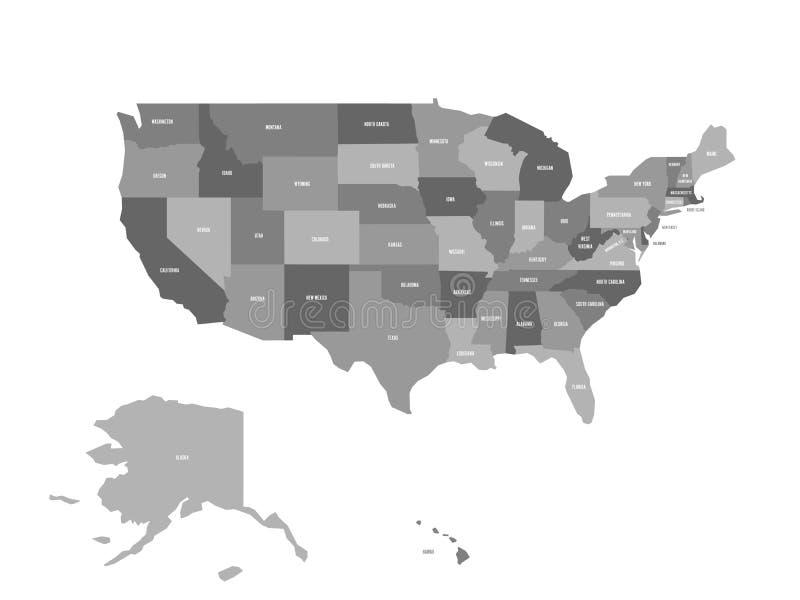 Carte politique des Etats-Unis OD Amérique, Etats-Unis Carte plate simple de vecteur à quatre nuances de gris avec le nom blanc d illustration libre de droits