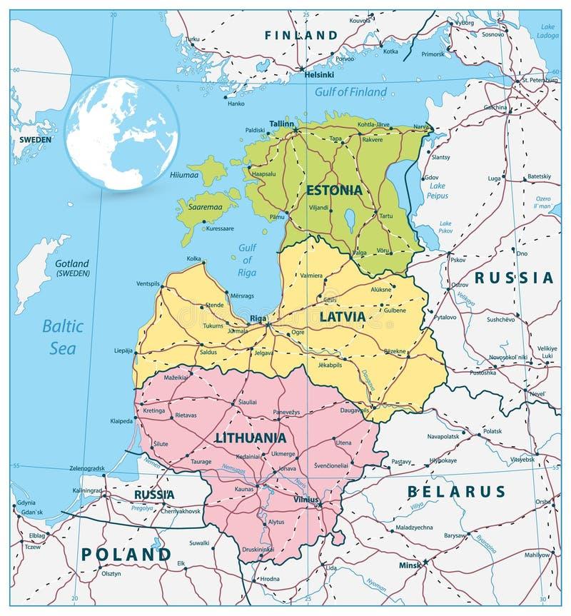 Carte politique des pays Baltes avec des routes illustration de vecteur