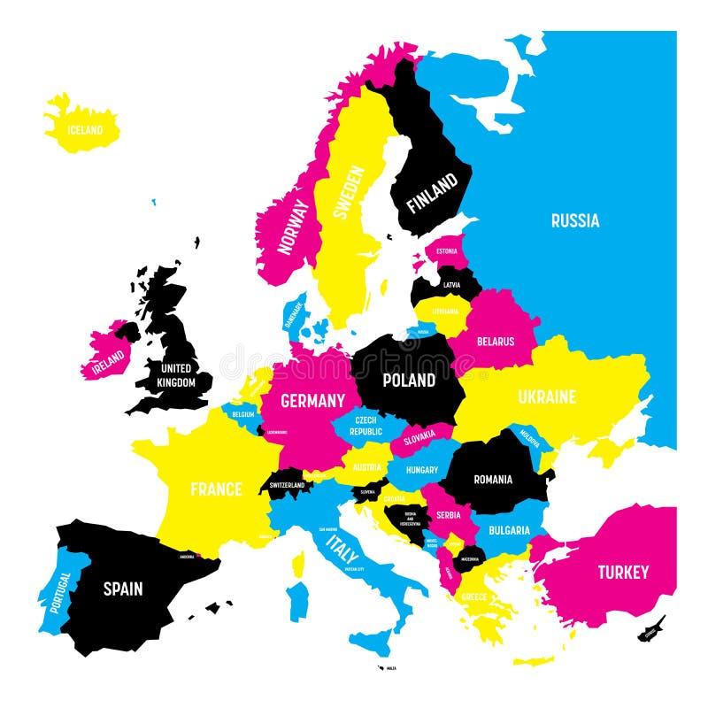 Carte politique du continent de l'Europe dans des couleurs de CMYK d'isolement sur le fond blanc Illustration de vecteur illustration libre de droits