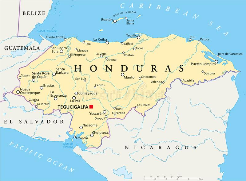 Carte politique du Honduras illustration de vecteur