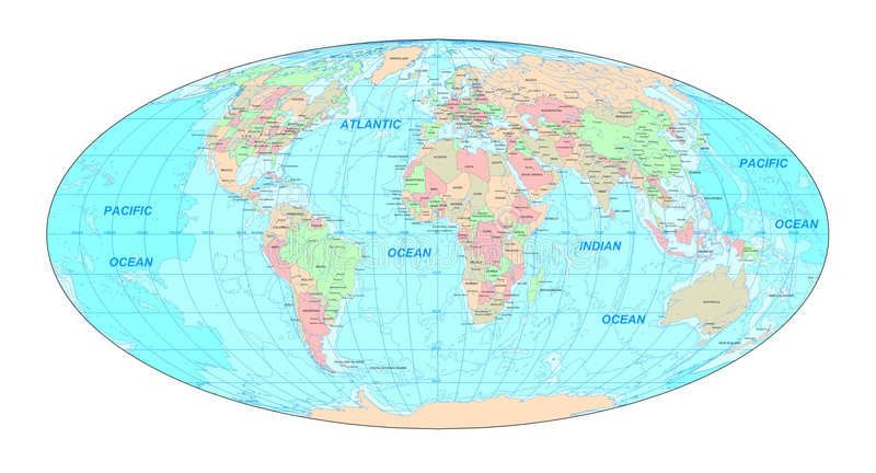 Carte politique du monde illustration de vecteur