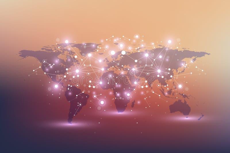 Carte politique du monde avec le concept global de mise en réseau de technologie Visualisation de données numériques Raye le plex illustration stock