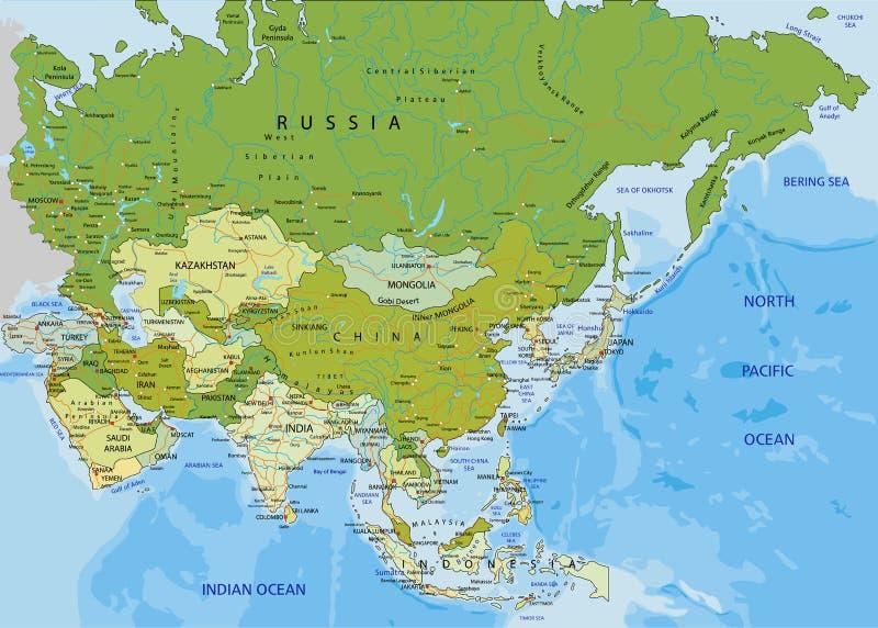 Carte politique editable fortement détaillée avec des couches séparées l'asie illustration de vecteur