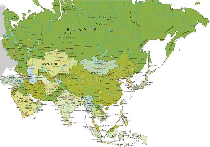 Carte politique editable fortement détaillée avec des couches séparées l'asie illustration libre de droits