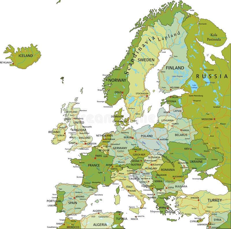 Carte politique editable fortement détaillée de l'Europe illustration stock