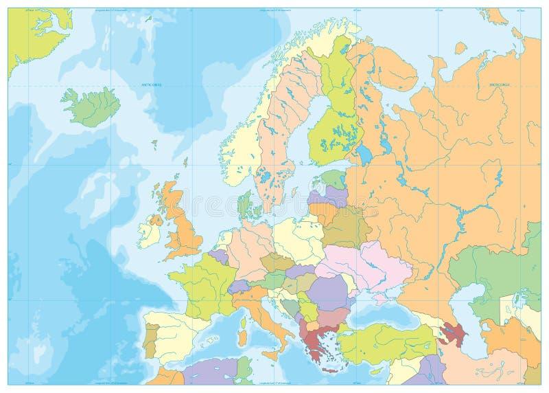 Carte politique et bathymétrie de l'Europe illustration de vecteur