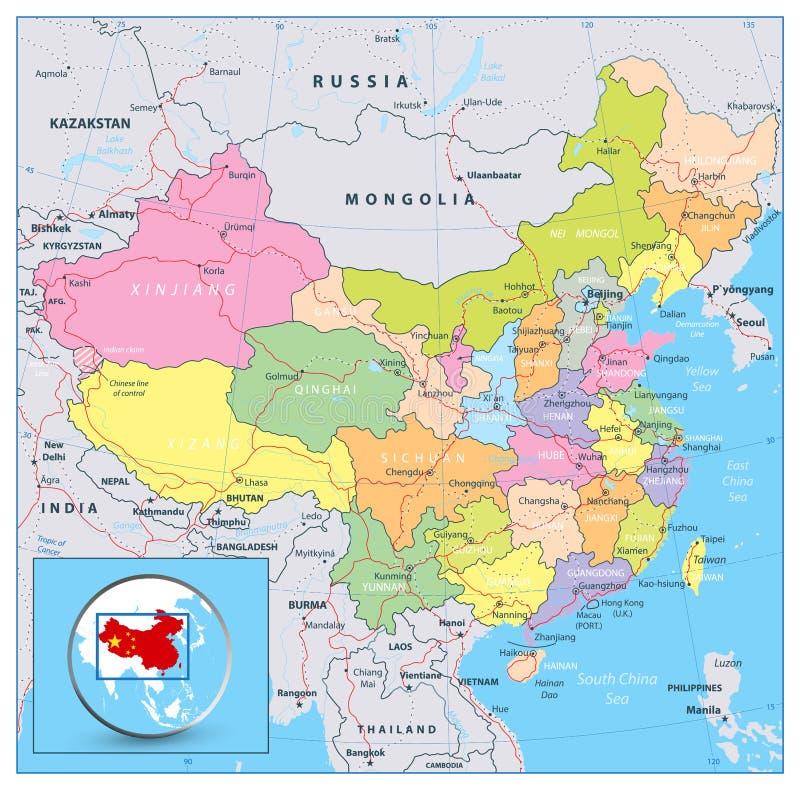 Carte politique fortement détaillée de la Chine avec des routes, chemins de fer et illustration libre de droits