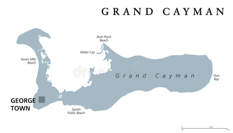 Carte politique grise de Grand Cayman illustration libre de droits