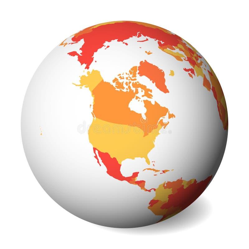 Carte politique vide de l'Amérique du Nord globe de la terre 3D avec la carte orange Illustration de vecteur illustration libre de droits