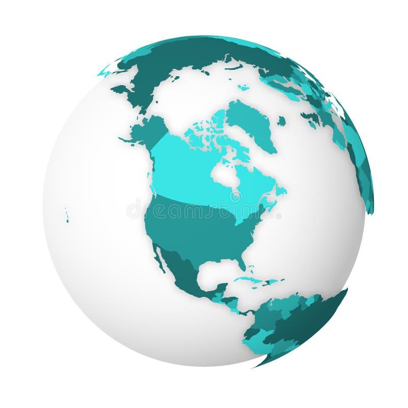 Carte politique vide de l'Am?rique du Nord globe de la terre 3D avec la carte de bleu de turquoise Illustration de vecteur illustration libre de droits