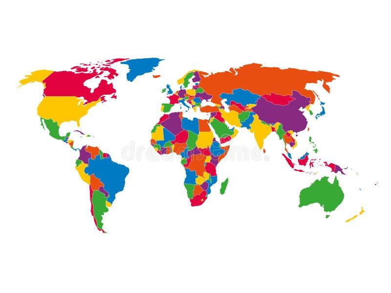 Carte politique vide multicolore de monde avec les frontières nationales des pays sur le fond blanc illustration stock