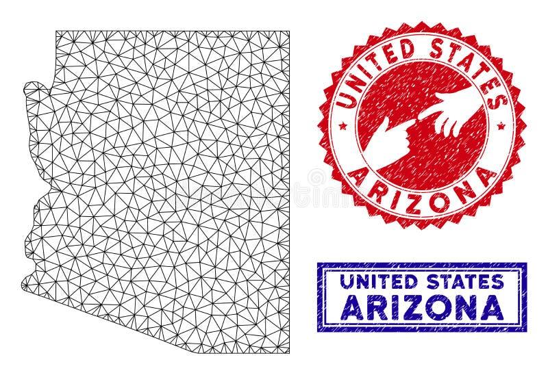 Carte polygonale d'état de l'Arizona de cadre de fil et timbres grunges illustration stock