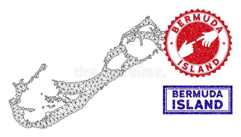 Carte polygonale d'?le de Bermudes de carcasse et timbres grunges illustration libre de droits