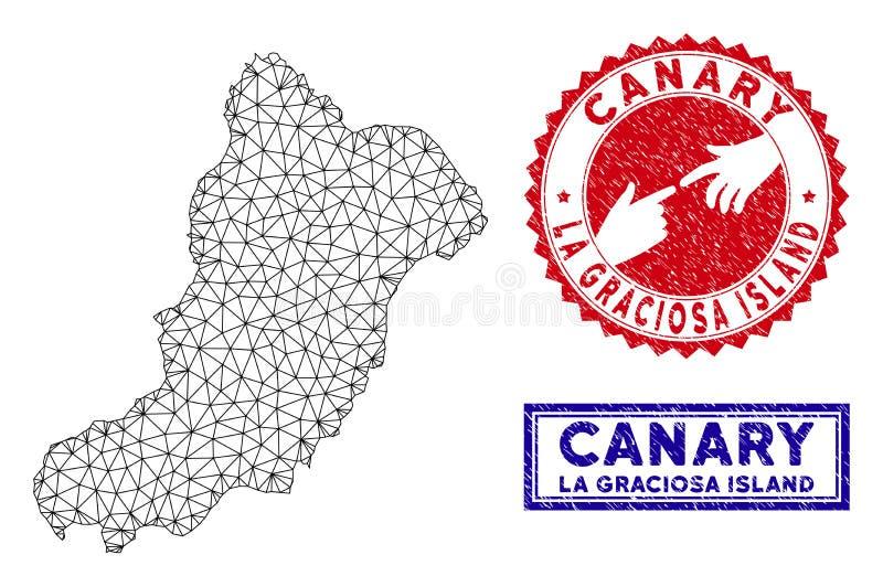 Carte polygonale d'?le de Graciosa de La de carcasse et timbres grunges illustration stock