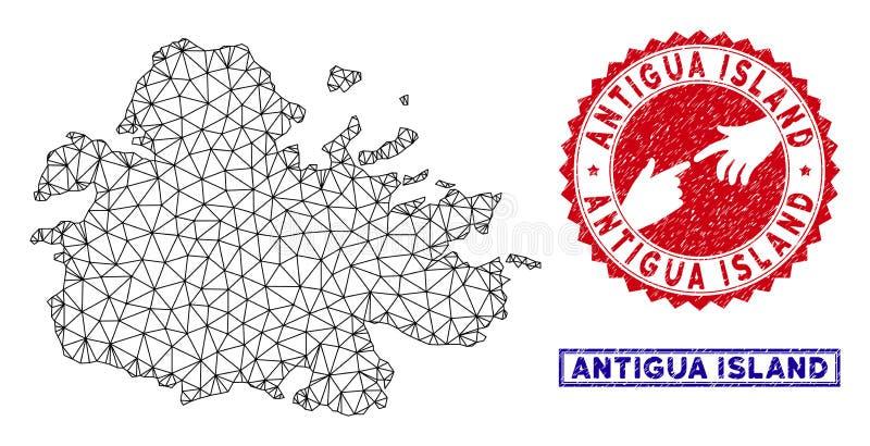 Carte polygonale d'?le de l'Antigua de carcasse et timbres grunges illustration libre de droits