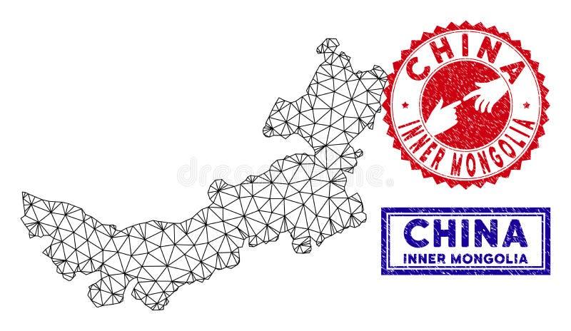 Carte polygonale de l'Inner Mongolia de Chinois de carcasse et timbres grunges illustration de vecteur