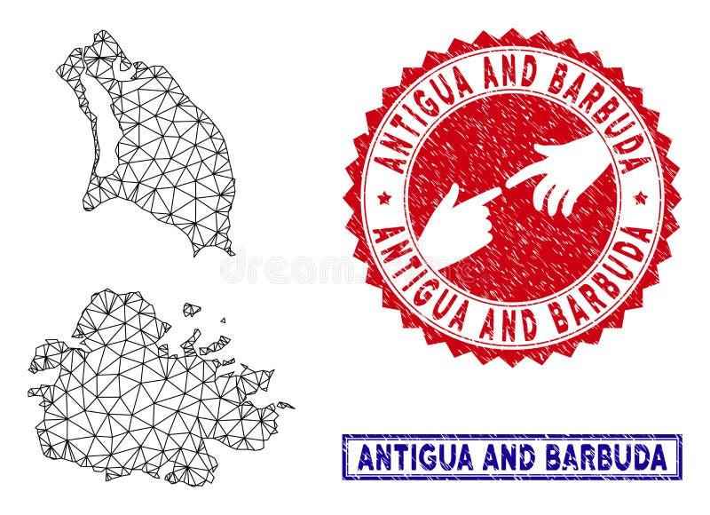 Carte polygonale de Mesh Antigua et de Barbuda et timbres grunges illustration stock