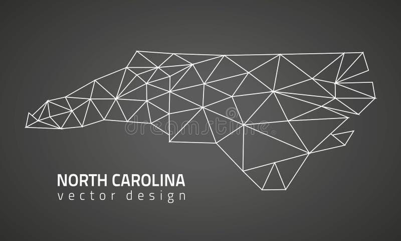 Carte polygonale de perspective de triangle de noir de découpe de vecteur de la Caroline du Nord illustration libre de droits