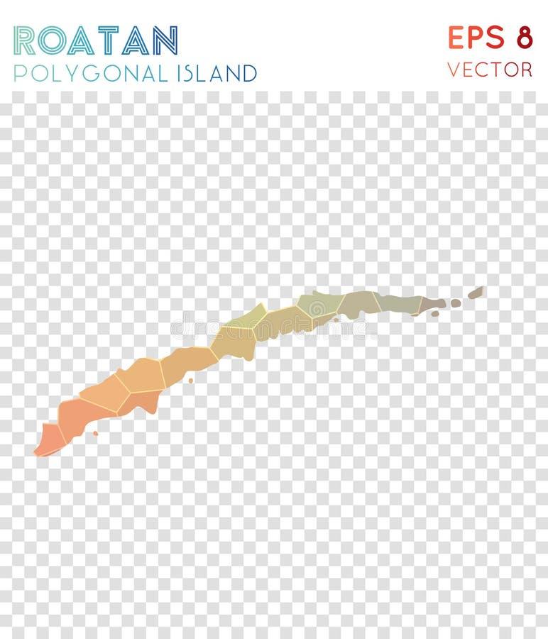 Carte polygonale de Roatan, île de style de mosaïque illustration libre de droits