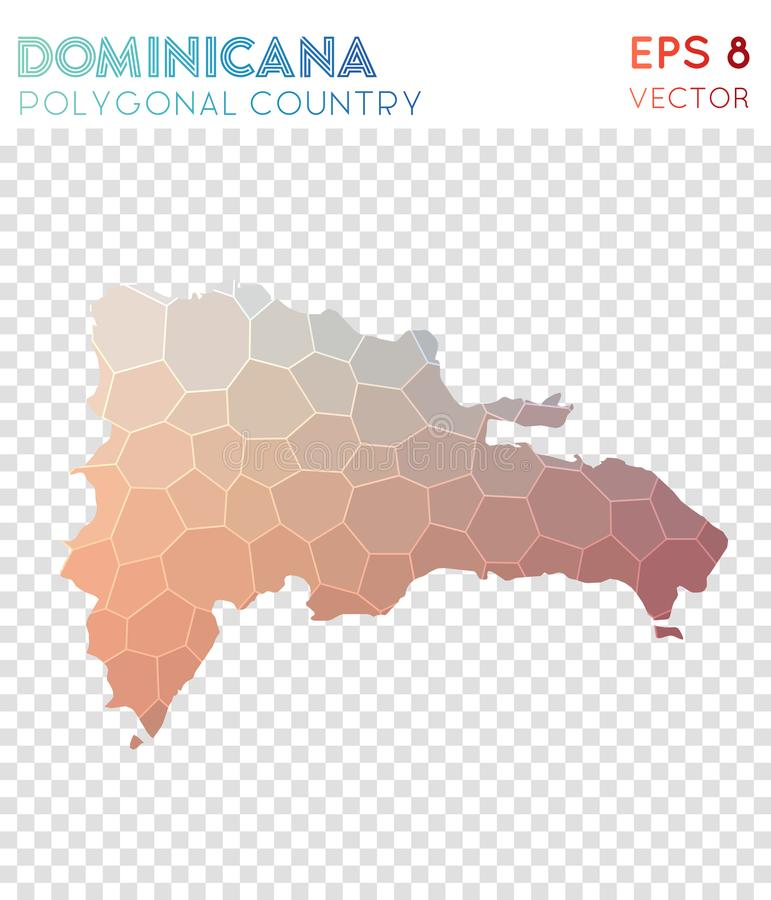 Carte polygonale Dominicana, pays de style de mosaïque illustration stock