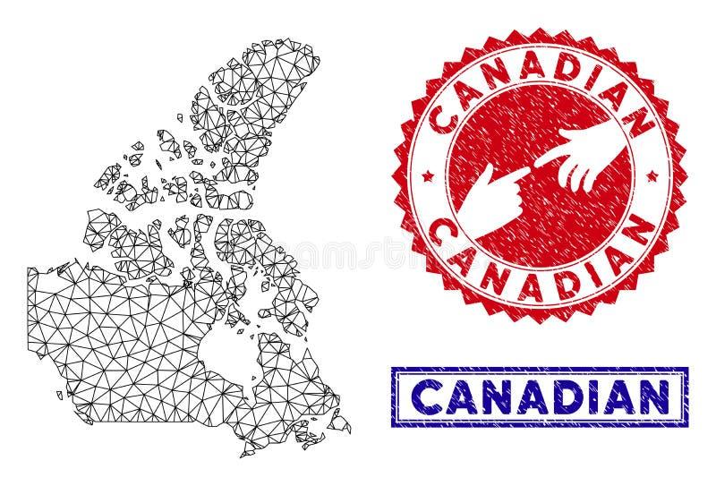 Carte polygonale du Canada V2 de carcasse et timbres grunges illustration libre de droits