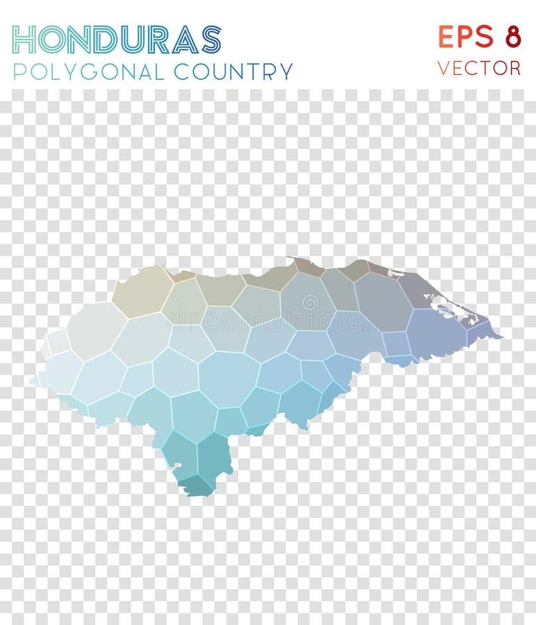 Carte polygonale du Honduras, pays de style de mosaïque illustration stock