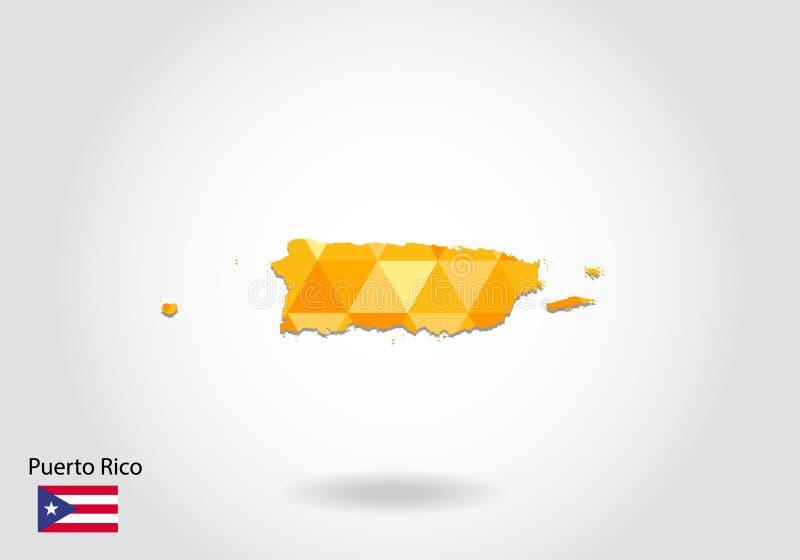 Carte polygonale géométrique de vecteur de style du Porto Rico Basse poly carte du Porto Rico illustration stock
